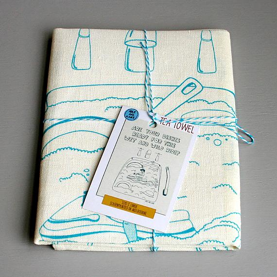 Tea Towel - Wet and Wild Ride - handmade in Melbourne by Able & Game