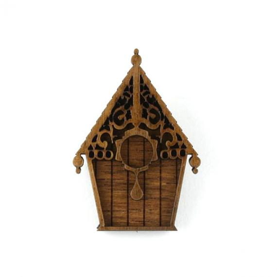 Wooden Birdhouse Brooch designed in Australia by Love Hate