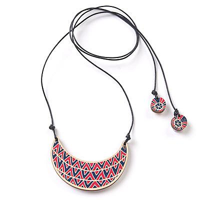 Wooden Shaka Necklace - Pink & Blue by Polli