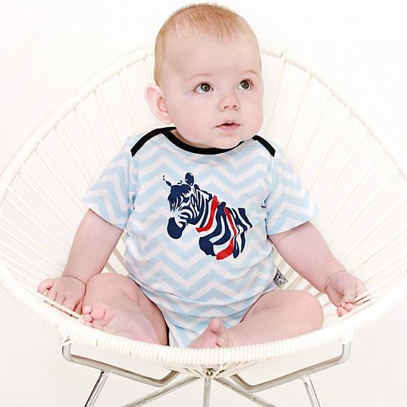 Zebra Chevron Romper designed in Australia by and the little dog laughed